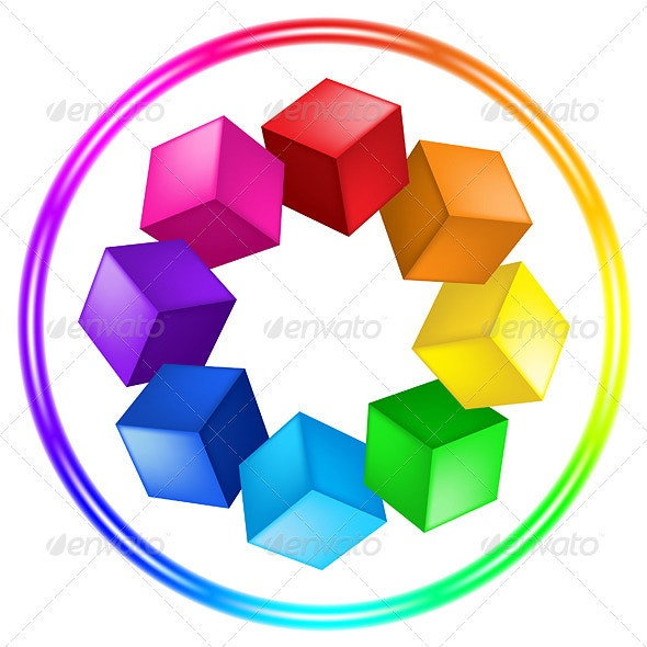 Illustration of cubes and ring - Miscellaneous Vectors