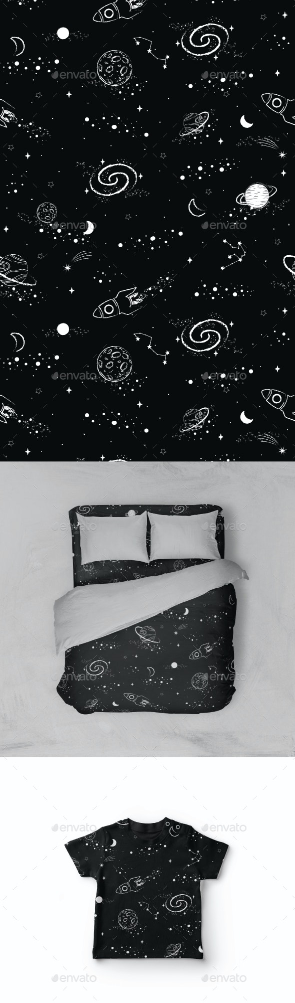 Hand drawn Seamless Outer Space Pattern - Patterns Decorative