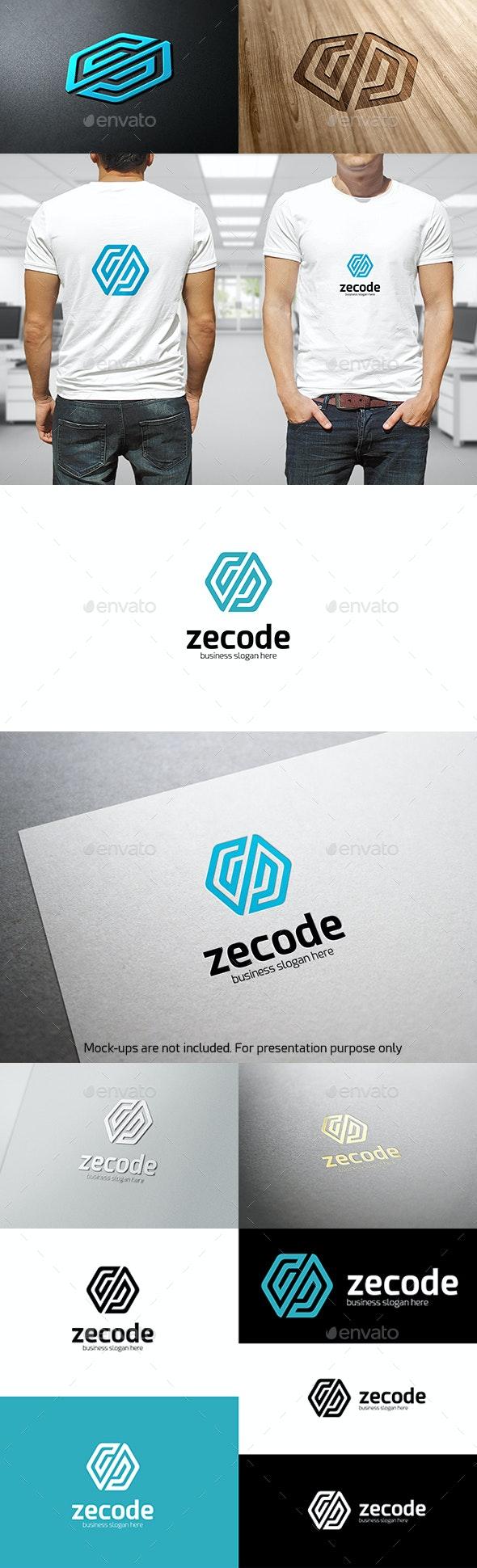 Zecode - Hexagonal Abstract Infinity Code Logo Symbol - Symbols Logo Templates