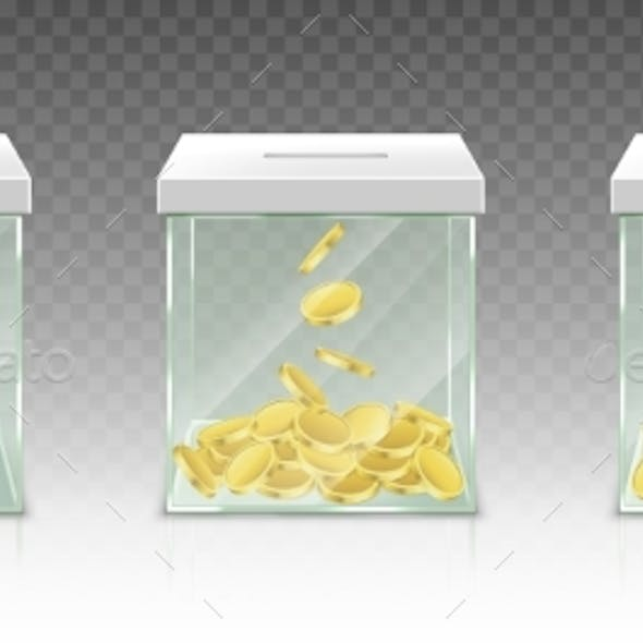 Glass Money Box for Tips Savings or Donations
