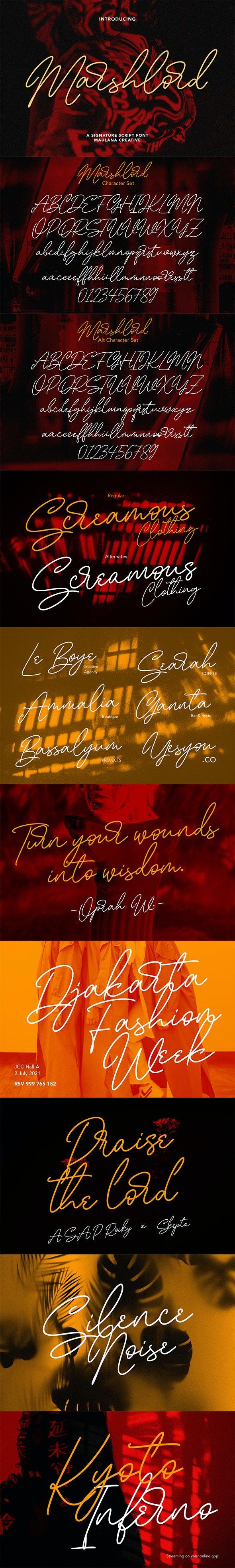 Marshlord Signature Script Font - Script Fonts