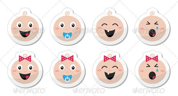 Baby boy, baby girl face - crying, with soother - People Characters