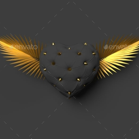 Love Concept of Heart with Wings