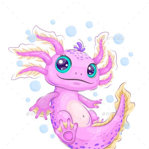 Cute cartoon axolotl
