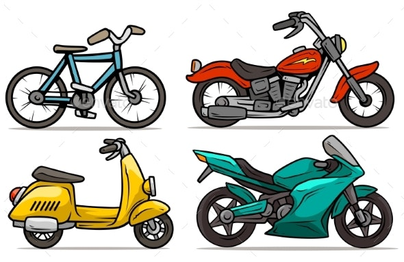 Cartoon Bicycle Scooter and Motorbikes Vector Set - Miscellaneous Vectors