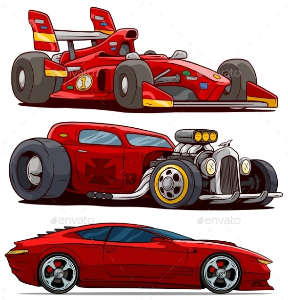 Cartoon Red Modern Sport and Retro Vintage Cars - Miscellaneous Vectors