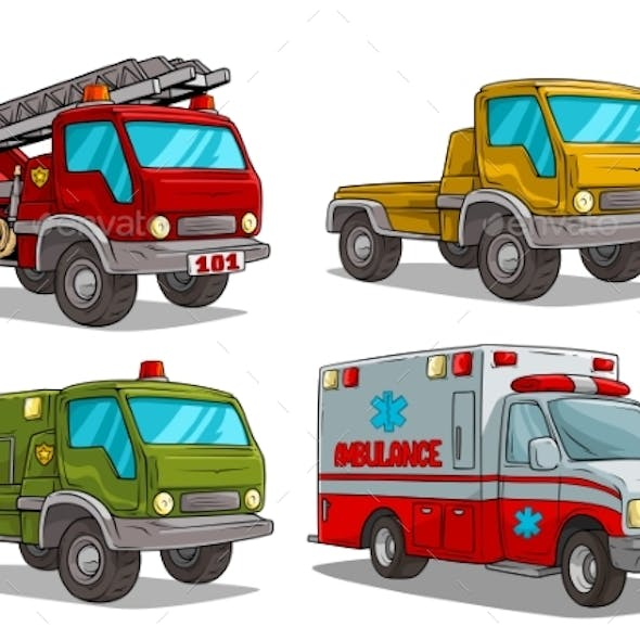 Cartoon Ambulance Fire Department and Police Truck