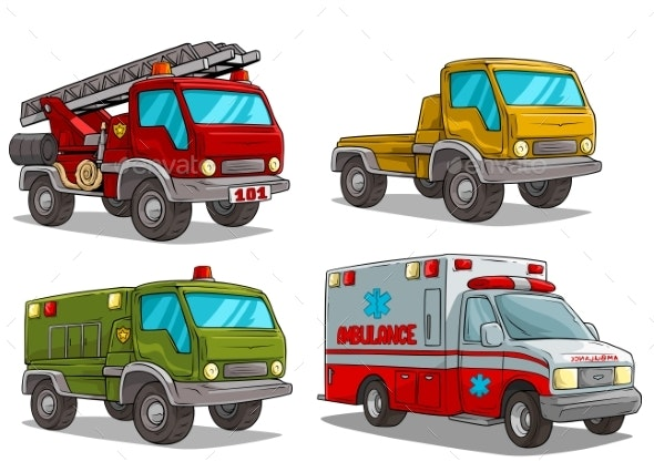 Cartoon Ambulance Fire Department and Police Truck - Miscellaneous Vectors