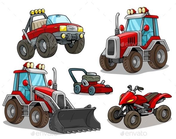 Cartoon Red Bulldozer Offroad Truck Quad Motorbike - Miscellaneous Vectors