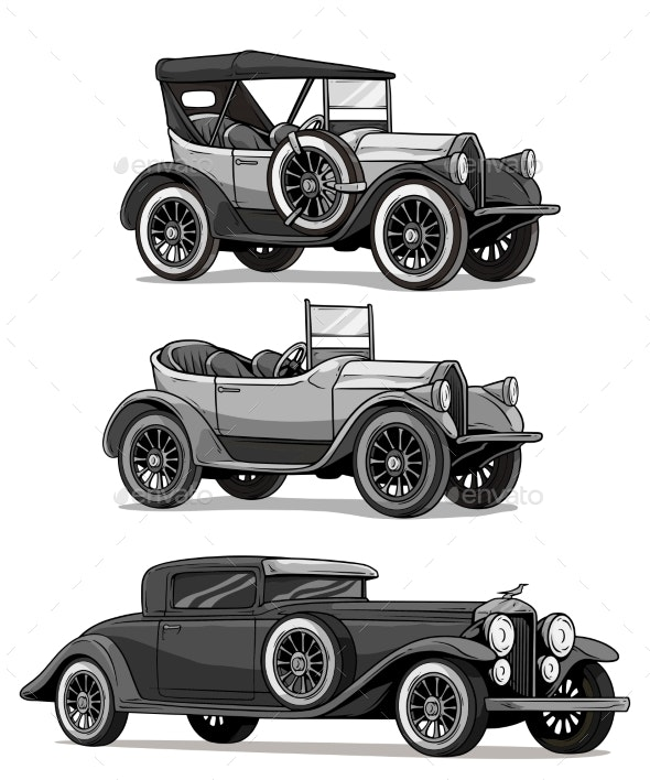 Cartoon Retro Vintage Luxury Convertible Cars - Miscellaneous Vectors