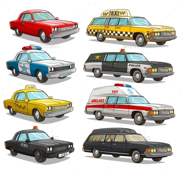 Cartoon Colorful American Old Retro Different Cars - Miscellaneous Vectors