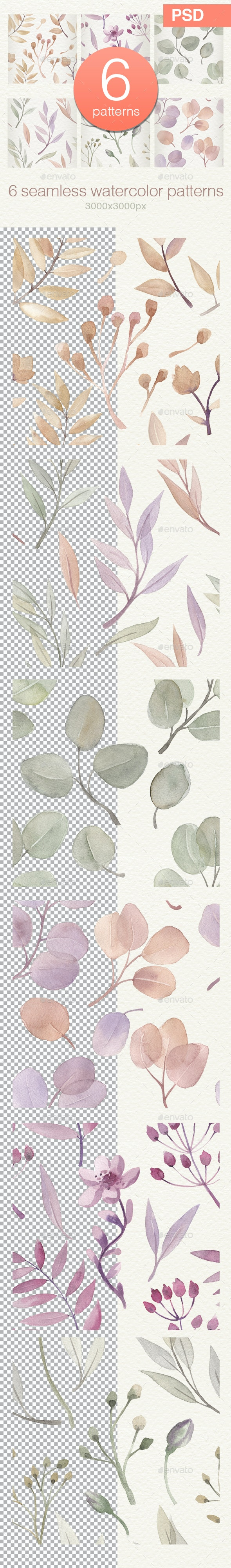 Botanical  Watercolor Seamless Pattern Set - Patterns Backgrounds