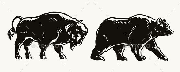American Bison and Bear Concept - Miscellaneous Vectors