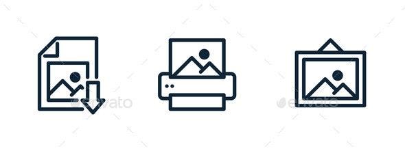 Digital Image File Download Printer Icon Print - Miscellaneous Vectors