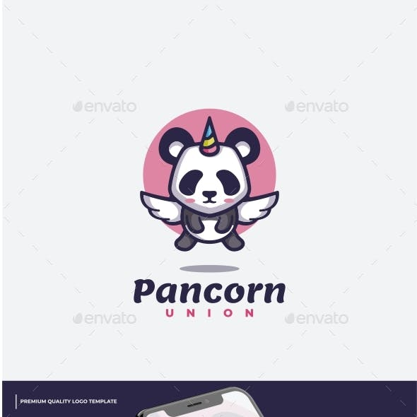 Panda Unicorn Cartoon Logo