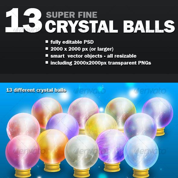 13 CRYSTAL BALLS