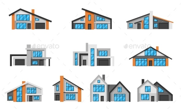 Set of Modern Luxury Houses - Buildings Objects