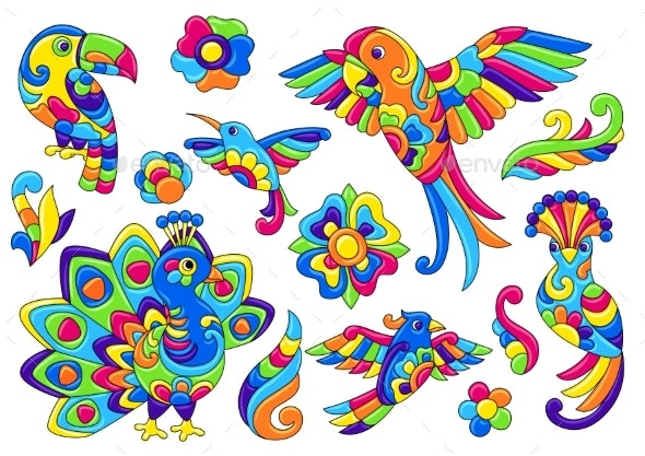 Set of Decorative Tropical Birds - Animals Characters