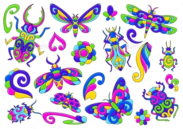 Set of Decorative Stylized Bugs and Insects - Animals Characters