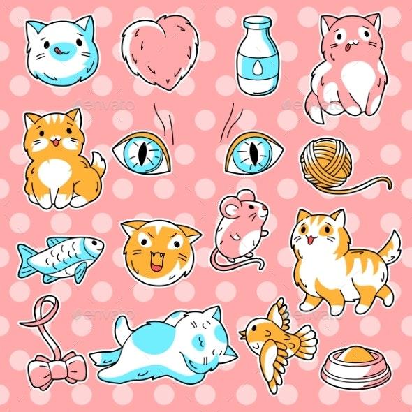 Set of Cute Kawaii Cats - Animals Characters
