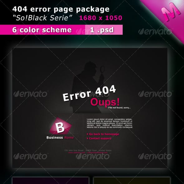 404 Error Pages Package So!Black Serie