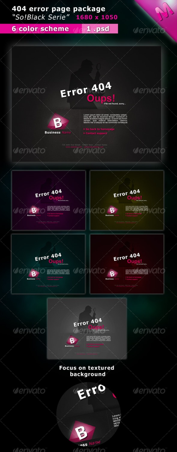 404 Error Pages Package So!Black Serie - Miscellaneous Web Elements
