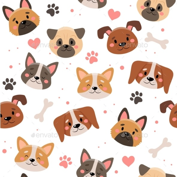 Cute Pets Seamless Pattern with Different Dogs - Patterns Decorative