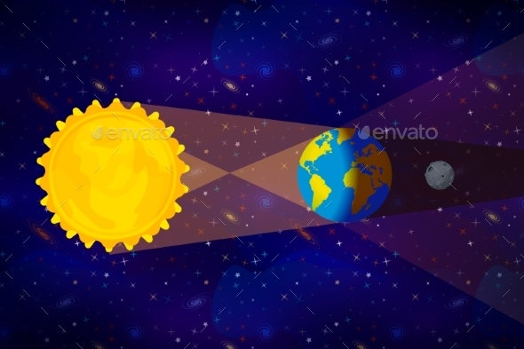 Cartoon Diagram of Lunar Eclipse Infographic on - Miscellaneous Vectors