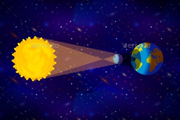 Cartoon Diagram of Solar Eclipse Infographic on - Miscellaneous Vectors