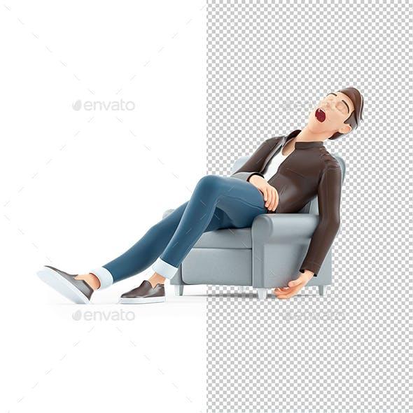 3D Cartoon Man Sleeping in Armchair