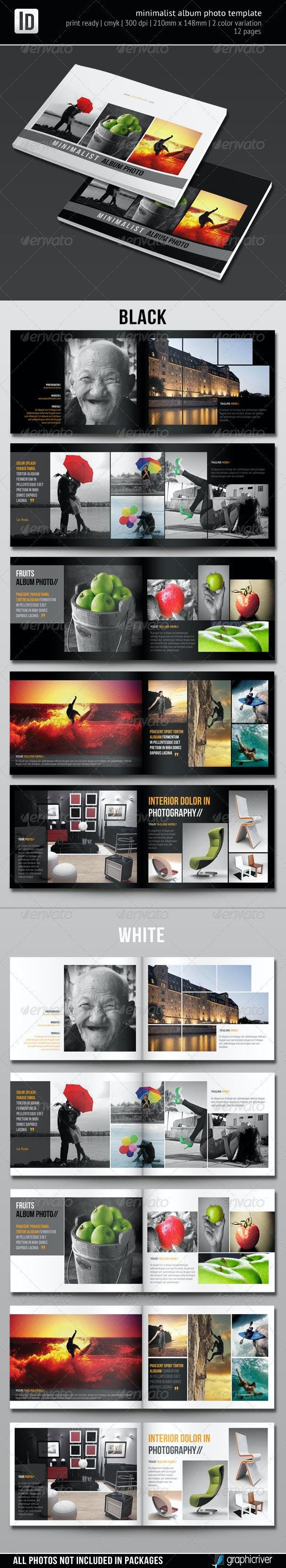 Minimalist Album Photo Template - Photo Albums Print Templates