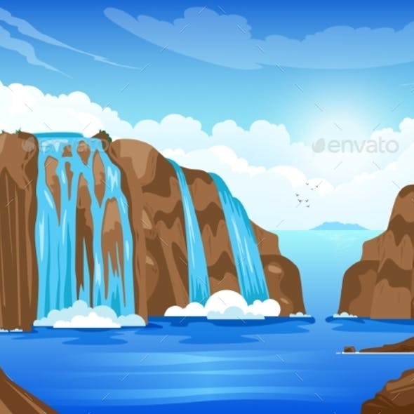 Nature Landscape With Waterfall
