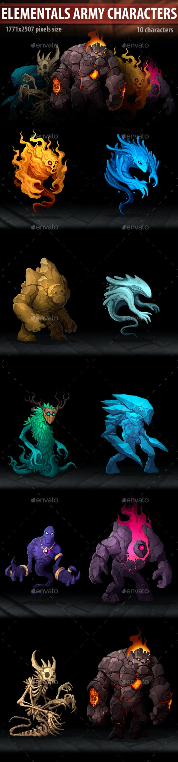 Elementals Army Characters - Miscellaneous Game Assets
