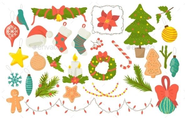 Festive Decorative Symbols Set Christmas Elements - Seasons/Holidays Conceptual