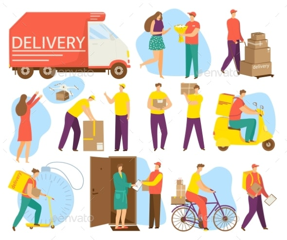 Cartoon Elements Set for Delivery Service Vector - Man-made Objects Objects