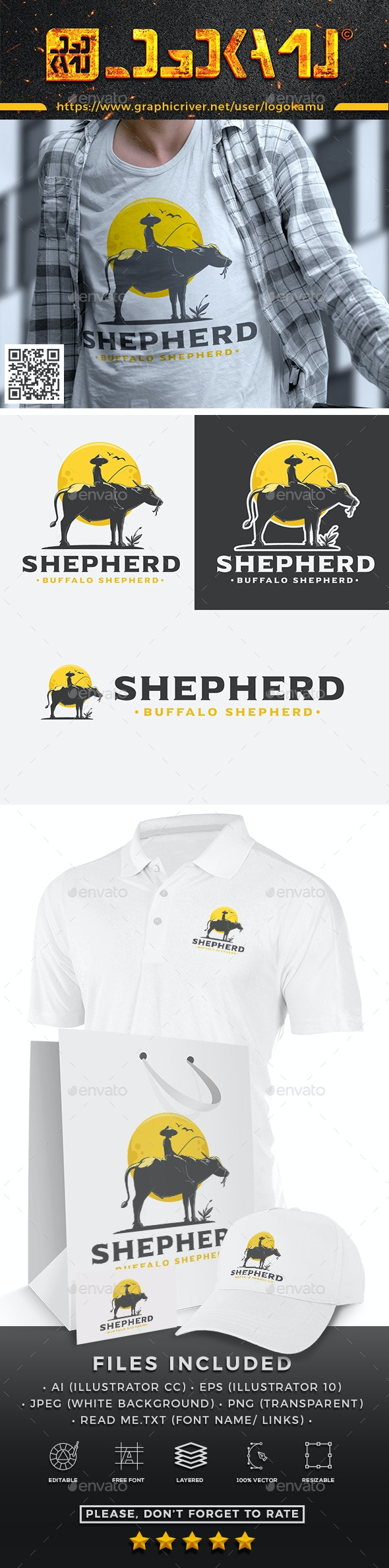 Buffalo Shepherd Logo - Nature Logo Templates