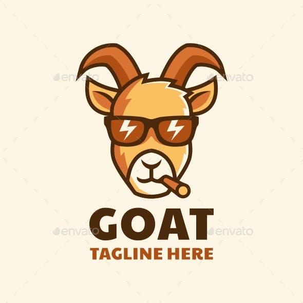 cool smoking goat head wear glasses cartoon