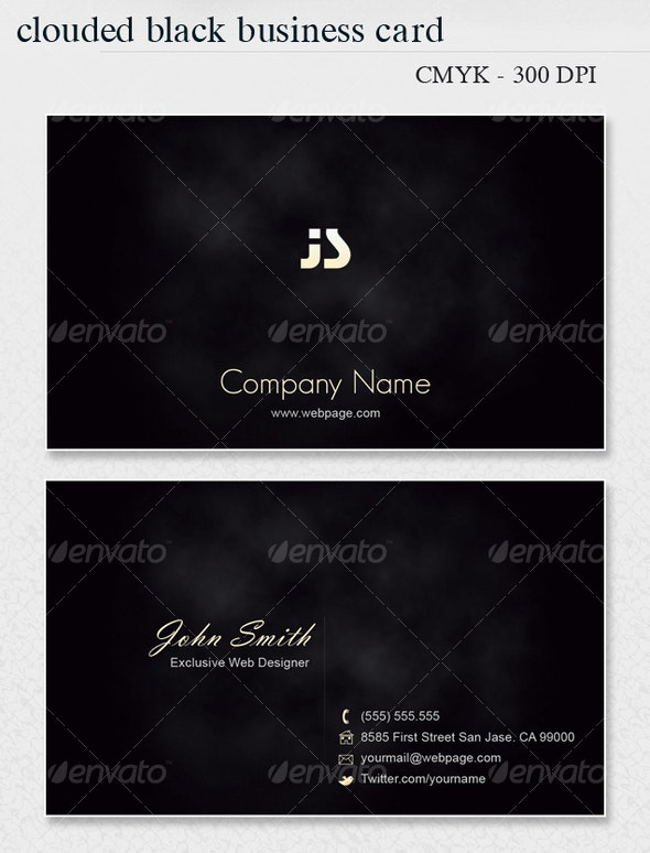 Clouded BLACK Business Card - Corporate Business Cards