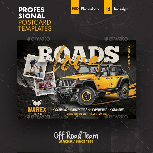 Off Road Postcard Templates
