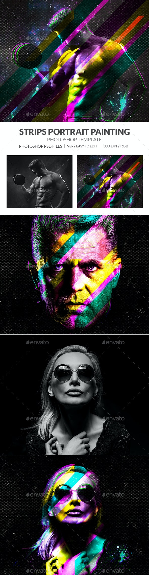 Strips Portrait Painting Effect - Photo Templates Graphics