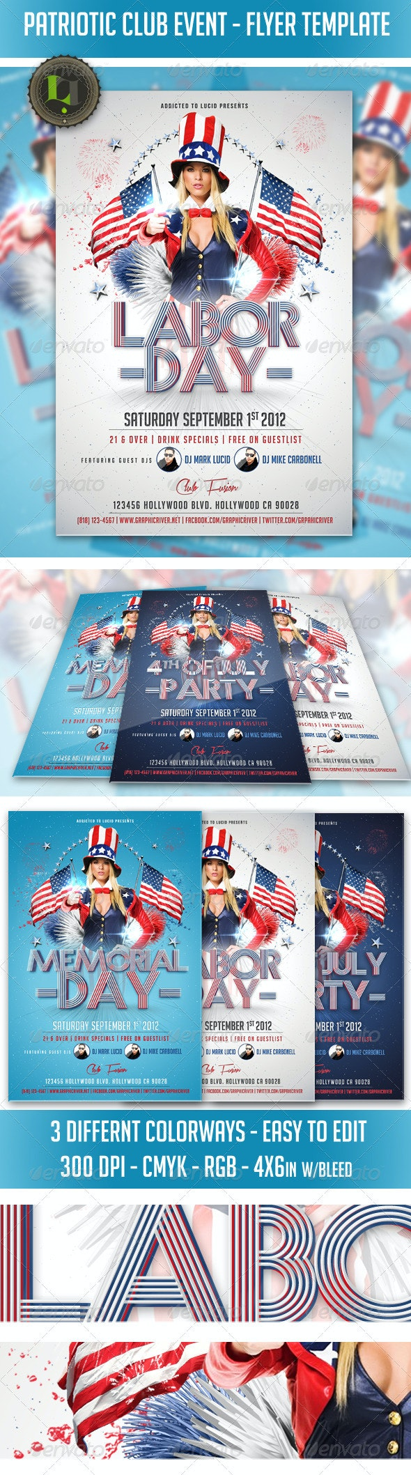 Patriotic Club Event - Flyer Template - Clubs & Parties Events