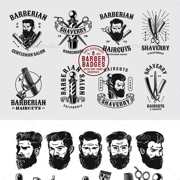 12 Vintage Barber Shop Badges & Graphics