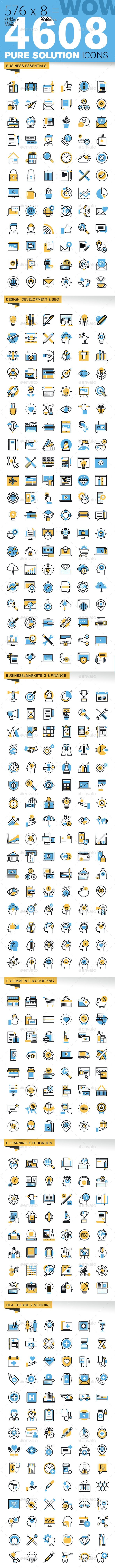 WOW Thin Line Flat Design Icons Bundle - Icons