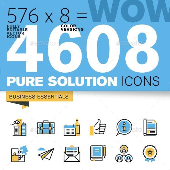 WOW Thin Line Flat Design Icons Bundle