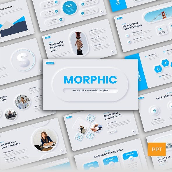 Neumorphic Business Presentation PowerPoint Template