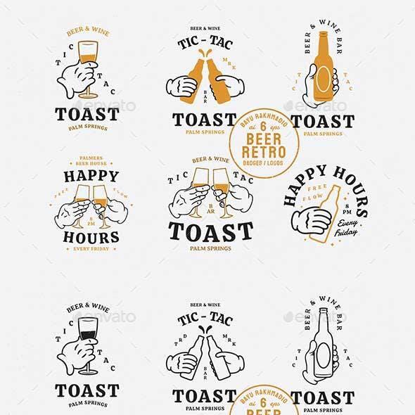Beer Brand & Happy Hours Retro Logo