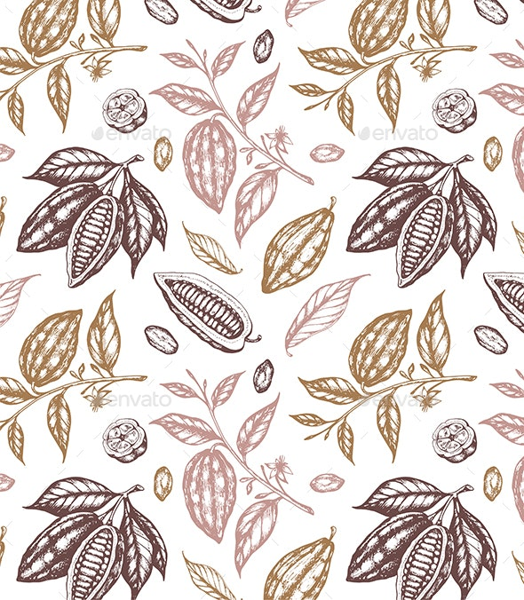 Vintage Seamless Pattern with Cocoa Beans - Patterns Decorative