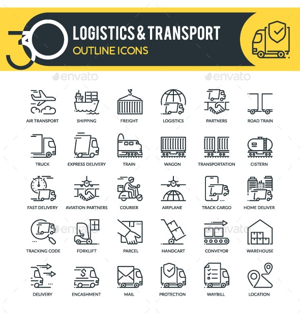 Logistics Outline Icons - Business Icons