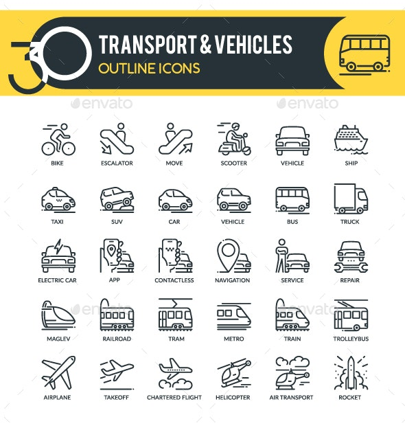 Transport Outline Icons - Business Icons