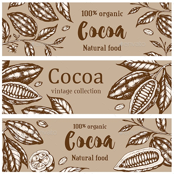 Vintage Horizontal Banners with Cocoa - Food Objects